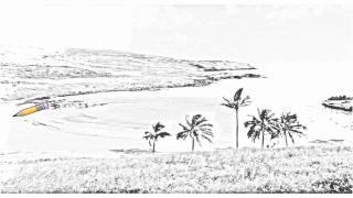 Auto Draw 2: Anakena Beach, Easter Island, Chile