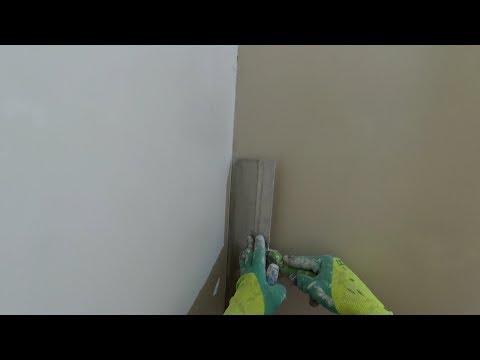 """Выравнивание стен шпаклевкой (без маяков). """"Гладилка + Фасадный шпатель 450мм."""""""