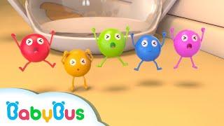 خمس حلويات قوس قزح 🌈|  اغاني الالوان والارقام | اغاني الاطعمة للاطفال | بيبي باص | BabyBus Arabic