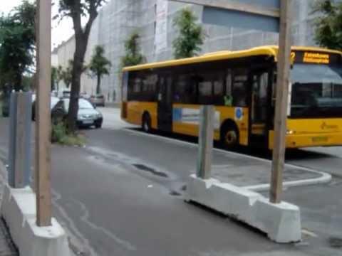 Bus stop with boarder in Copenhagen