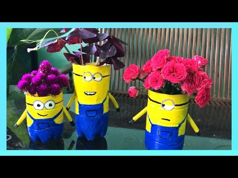 Recycle plastic bottles into flower pots (part 2) | How to make flower pot shaped minion