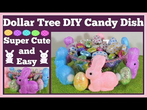 Dollar Tree DIY 🐰 Easter Bunny Candy Dish Super fast and Easy