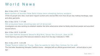 World News Headlines for 9 Dec 2019 - 8 AM Edition