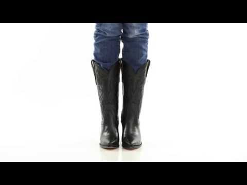 "Dan Post Womens Black Mignon Leather Maria 13"" Snip Toe Cowboy Boots - Style# DP3200"