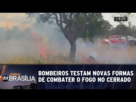 Bombeiros testam novas formas de combater o fogo no cerrado | Jornal SBT Brasília 18/07/2018