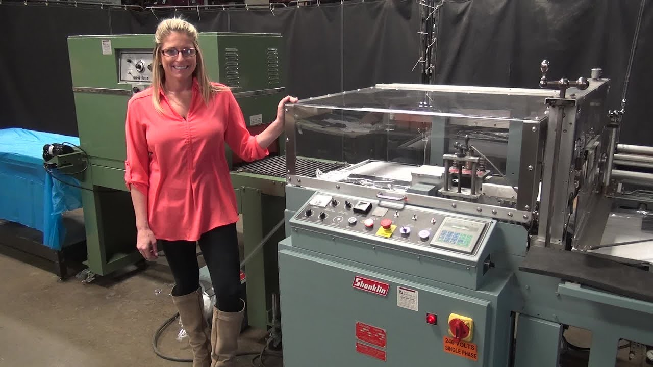 hight resolution of shanklin automatic side seal shrink wrapper demonstration