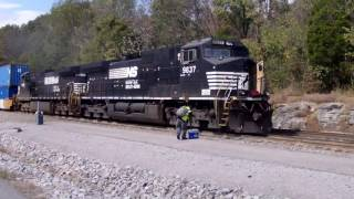 NS Crew Change at Burnside, KY, Two NS Dash 9