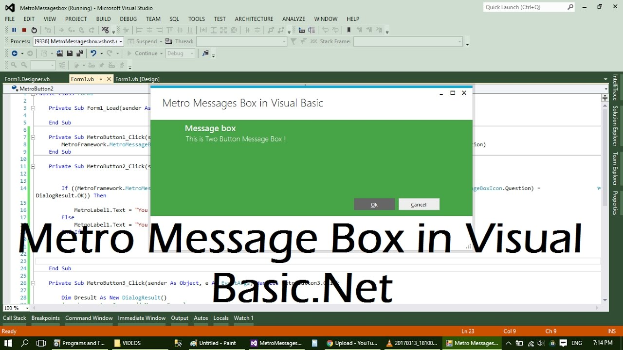 Creating Metro Message Box in Visual Basic net
