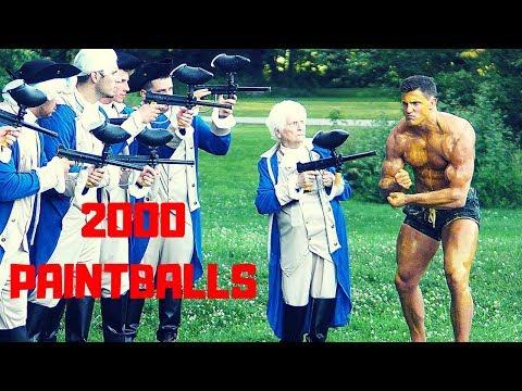 Grandma Shoots 2000 PAINTBALLS at Bodybuilder   Bodybuilder VS Crazy Paintball Gun Challenge Fail