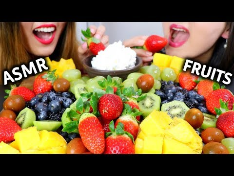 ASMR FRUIT PLATTER & WHIPPED CREAM 과일 리얼사운드 먹방 フルーツ Buah फल Trái Cây | Kim&Liz ASMR