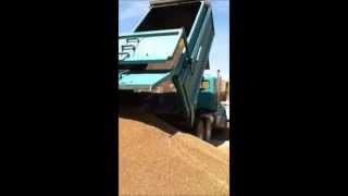 Dump Truck Dumping a Load of Gravel at a Construction Site