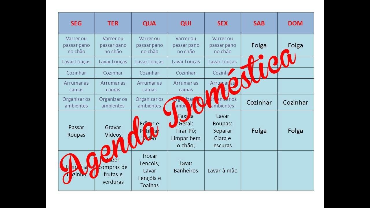 Conhecido Agenda Semanal de Atividades Domésticas - YouTube OC31