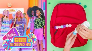 BARBIE'S FIRST DAY OF SCHOOLDIY GLITTER Pencils & DIY Backpacks!  | Golden Beach High | @Barbie