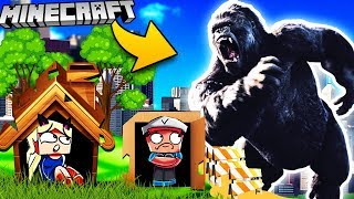 BAZA VS KING KONG - MINECRAFT TSUNAMI CHALLENGE | Vito VS Bella