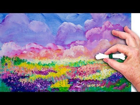 Flowers  Cotton Swabs 🌸💜  Painting Technique for Beginners 💜  Basic Easy Step by step