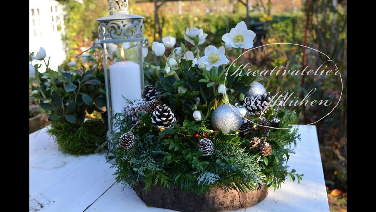 DIY: Edle Weihnachtsdeko für draußen - Weihnachtskranz auf Baumscheibe mit  Christrose