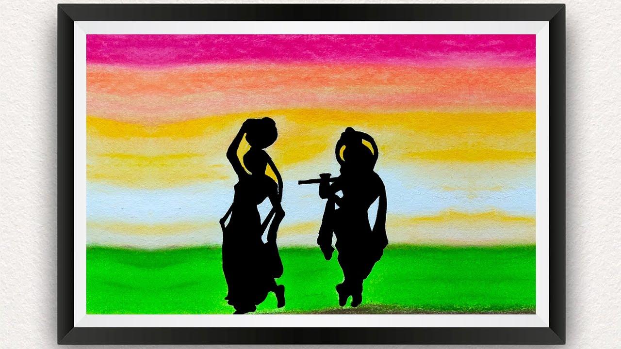 Janmashtami Radha Krishna Drawing With Oil Pastels For Beginners || Panihari Radha Painting Tutorial