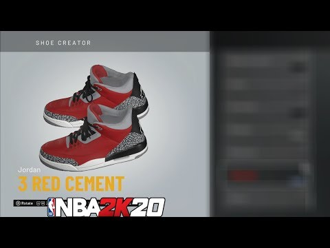 NBA 2K20 Shoe Creator Jordan 3 Red Cement 🔌🔥👟