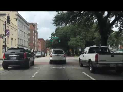 Driving Downtown Savannah Georgia USA