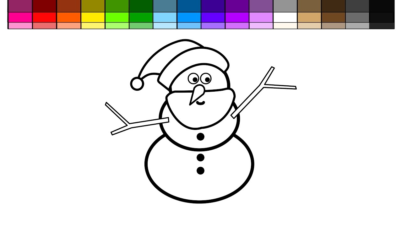 learn colors for kids and color christmas snowman coloring pages