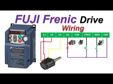 🔴fuji frenic mini drive connection diagram | 3-Wire mode | Potentiometer |  start stop wiring #Hindi - YouTubeYouTube