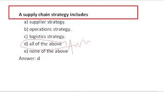 A supply chain strategy includes