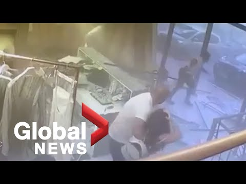 Beirut explosion: CCTV footage captures moment shock wave hits local shops