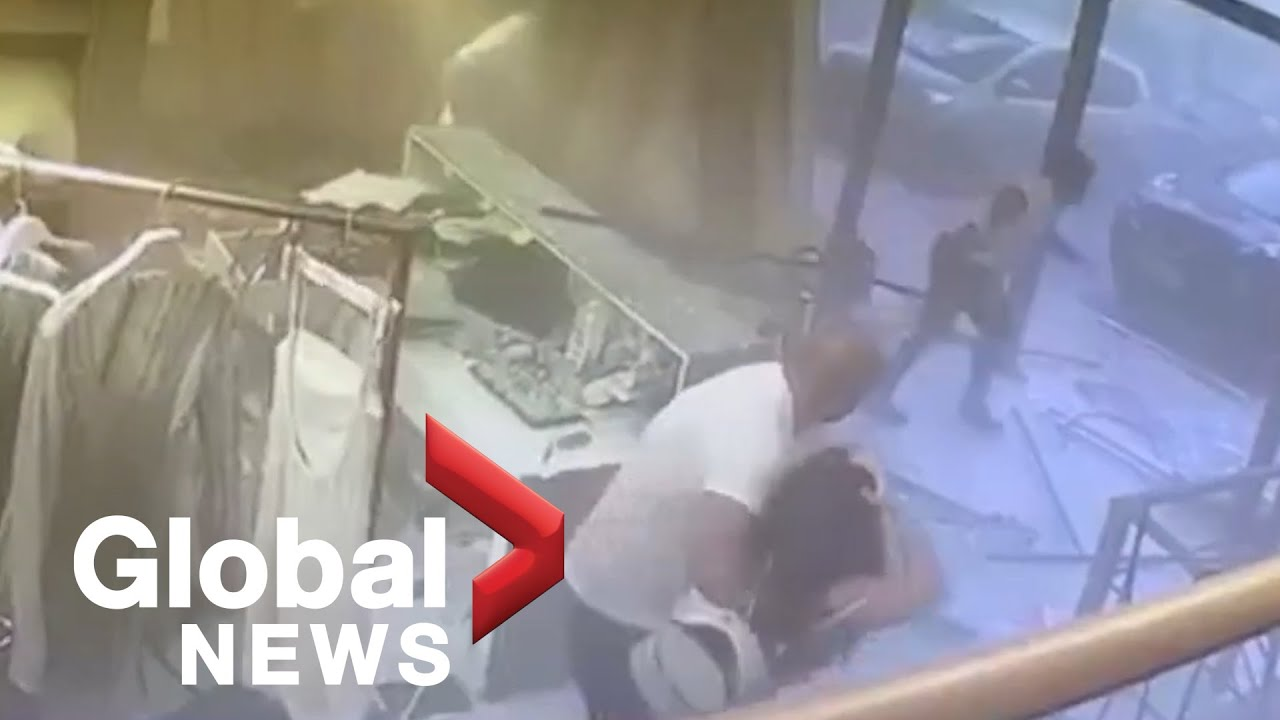 Beirut explosion: CCTV footage captures moment shock wave hits local shops