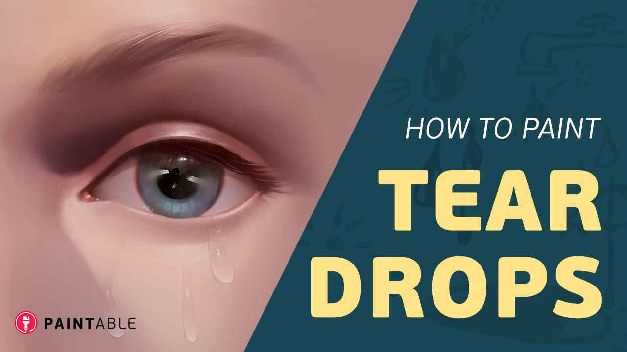 How To Paint Realistic Tears And Water Droplets Step By Step Youtube