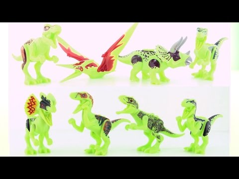 8 Jurassic World lego glow in the dark dinosaurs - Tyrannosaurus Indominus Rex Velociraptors