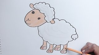 Como dibujar y pintar paso a paso a Cordero - How to draw and paint step by step Lamb