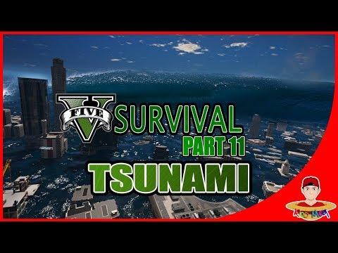 GTA V SURVIVAL (11) - HANCURR !! KOTA TERENDAM TSUNAMI !!