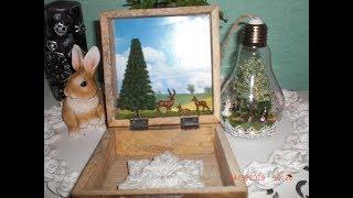 Holzkiste mit Innenleben -  Hirsche im Wald