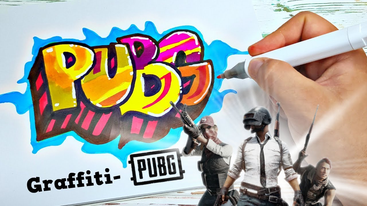 How to Draw Graffiti- PUBG ! PlayerUnknown's Battlegrounds - YouTube
