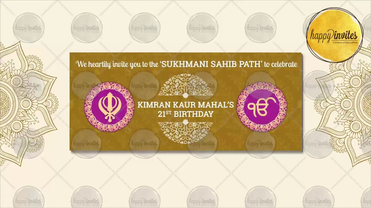 Sukhmani Sahib Path Sikh Video Invitation Animated Invite Youtube