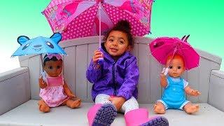 Rain Rain Go Away Nursery Rhymes Song - Playing with Umbrellas