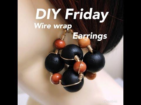 DIY FRIDAY WIRE WRAP WOOD EARRINGS