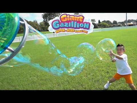 Make GIANT BUBBLES With Gazillion Power Wand And Bubble Mill Super-Sized Bubble Fun With Ckn Toys