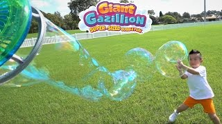 Make GIANT BUBBLES With Gazillion Power Wand And Bubble Mill Super-Sized Bubble Fun With Ckn Toys Video