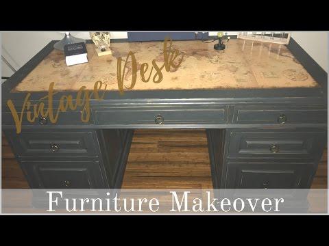 FURNITURE MAKEOVER | Vintage Industrial Desk (Chalkpaint Recipe)