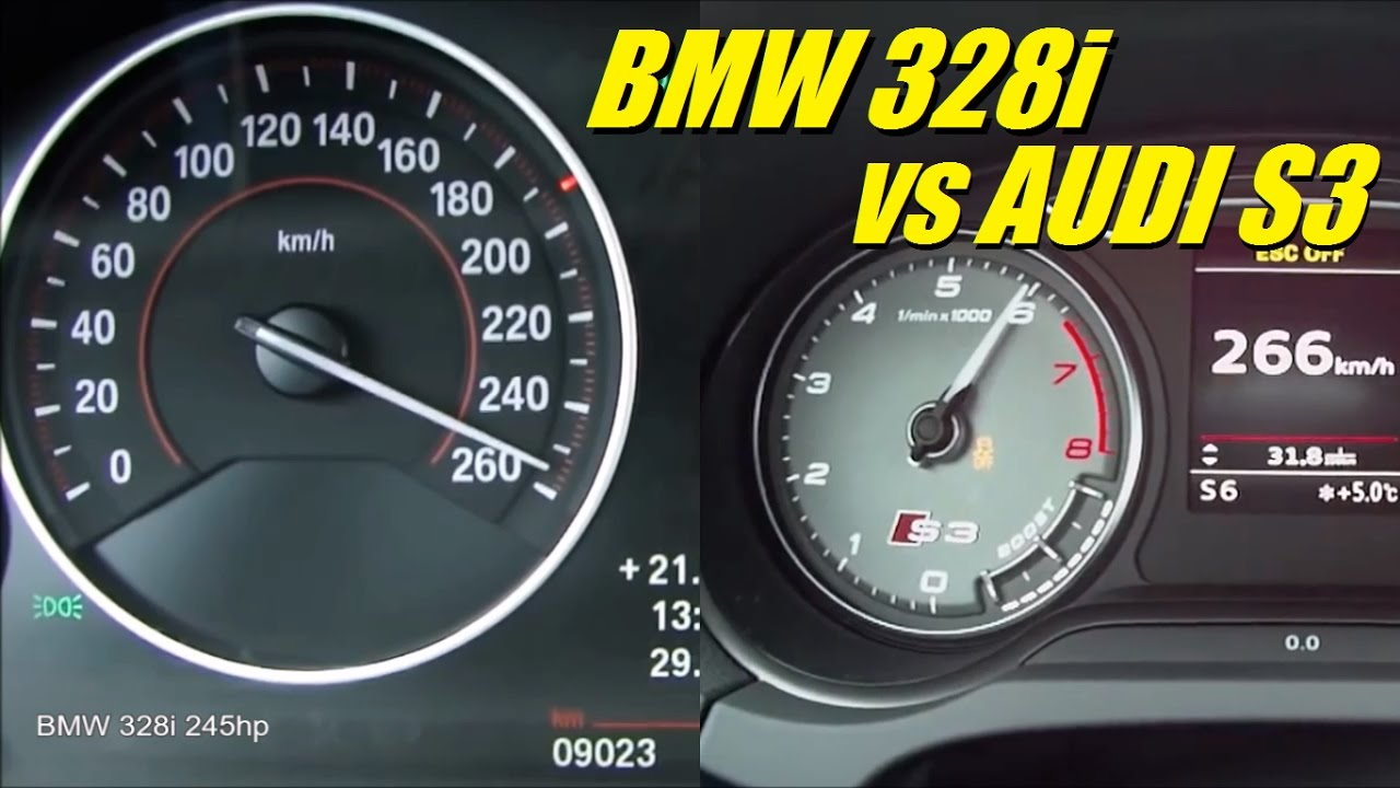 Audi S3 300hp Vs Bmw 328i 245hp 0 250 Kph Acceleration Top Speed