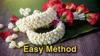 How to string Jasmine garland   Traditional Method   Flower veni making