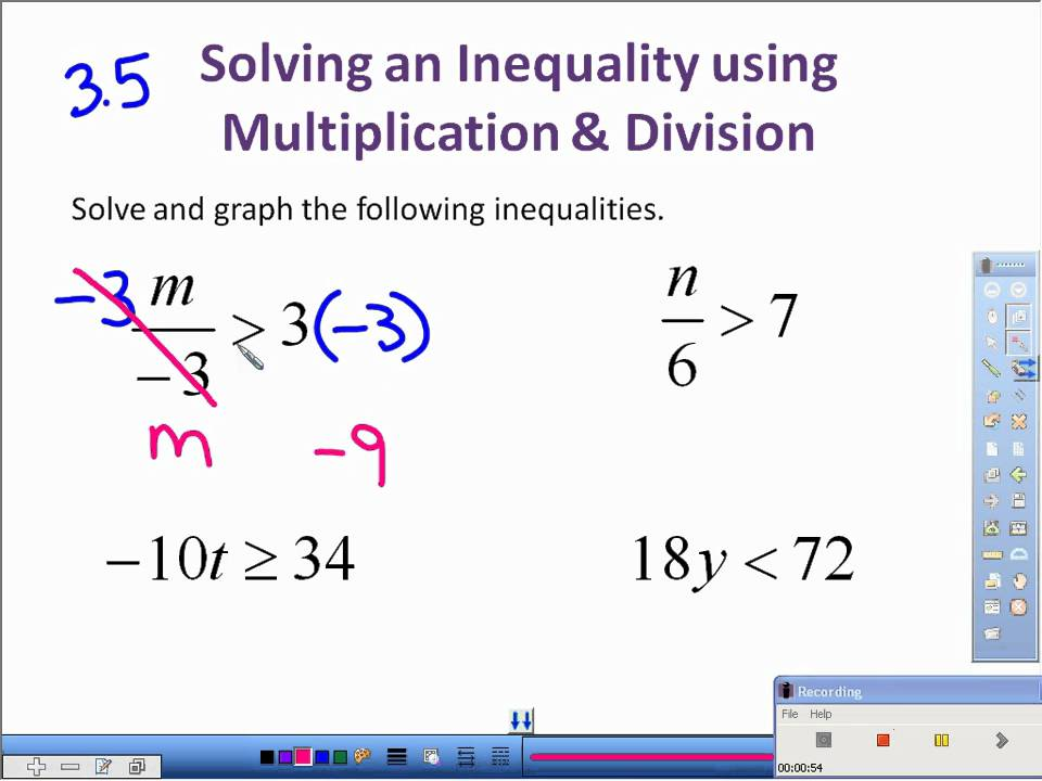35 Solving Inequalities with Multiplication and Divisionavi - YouTube