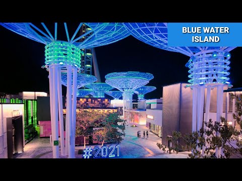 Blue Water Island | Ain Dubai | Night Walk | Virtual Walk Tour| 2021| Dubai Tourist Attractions|[4k]