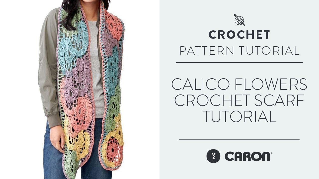 Calico Flowers Crochet Scarf Tutorial