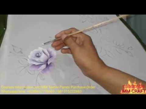 Step 2: Painting of First Roses, leaves and flower buds, Art Fabric Design Craft