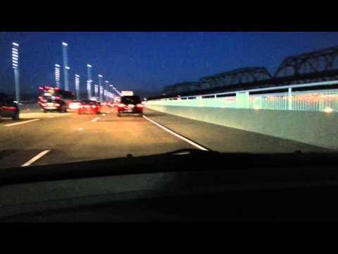 At Night New Bridge From Treasure Island To Oakland