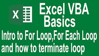 Excel VBA Programming Basics Tutorial # 9 | Introduction to For Loop and For each loop