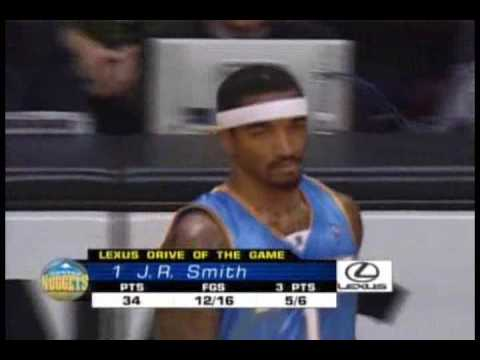 J.R. Smith 43 points off the bench (february 22nd,2008)