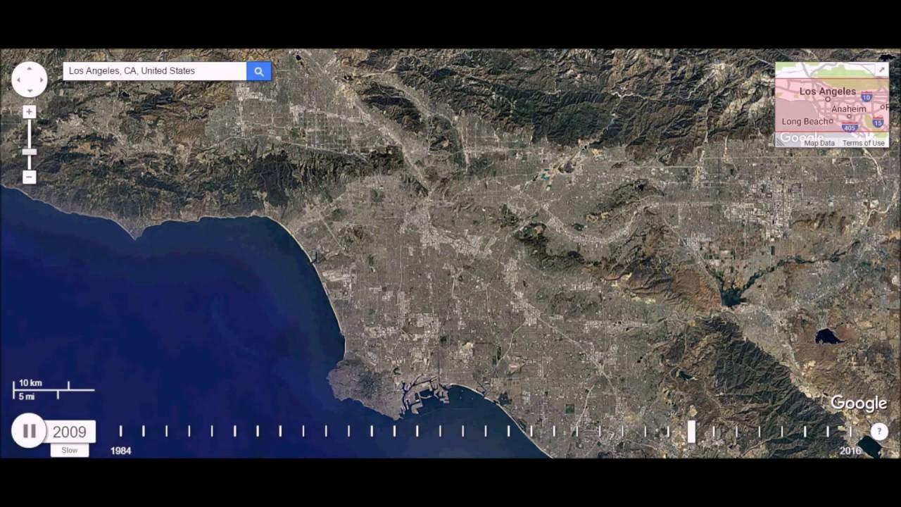 Los Angeles California Urban Sprawl Time Lapse YouTube - Los angeles california map united states
